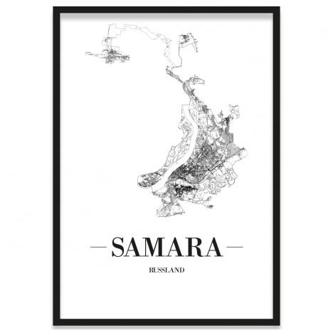Stadtposter Samara gerahmt in Bilderrahmen