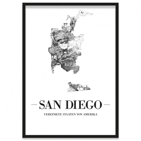Stadtposter San Diego gerahmt