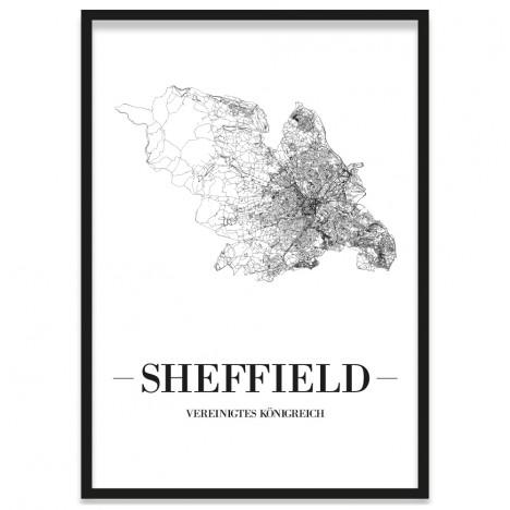 Stadtposter Sheffield Bilderrahmen