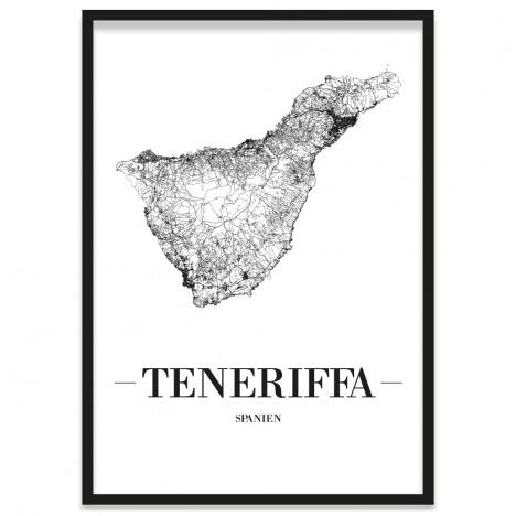 Stadtposter Teneriffa mit Bilderrahmen
