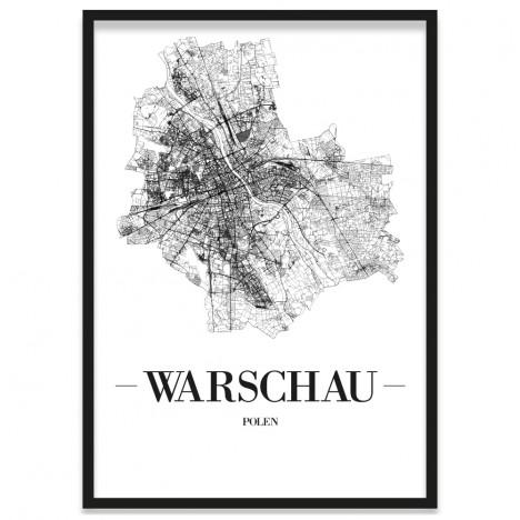 Stadtposter Warschau gerahmt