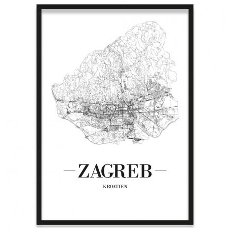 Zagreb Poster gerahmt
