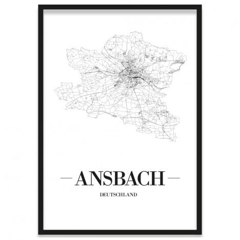 Stadtposter Ansbach gerahmt