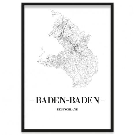 gerahmtes Poster Baden-Baden mit Rahmen