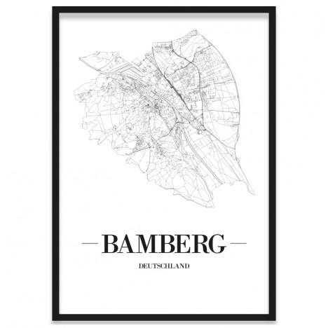 Stadtposter Bamberg Stadtplan Bilderrahmen