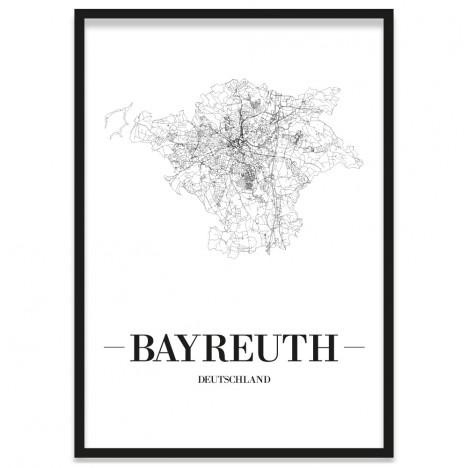Stadtposter Bayreuth Rahmen Straßennetz