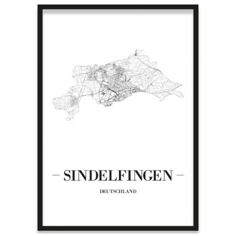Stadtposter Sindelfingen gerahmt