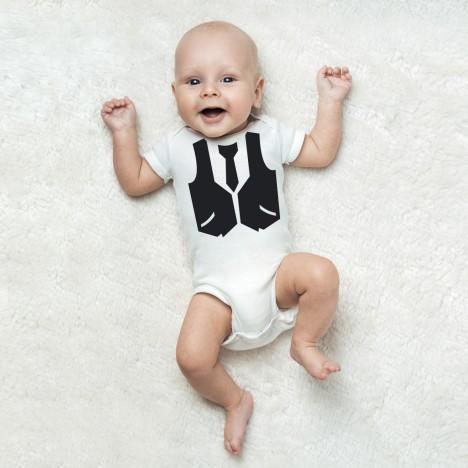babybody weiß weste und krawatte