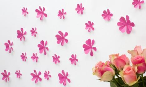 Wandtattoo 3D - Blumen pink