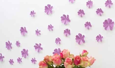 Wandtattoo 3D - Blumen flieder