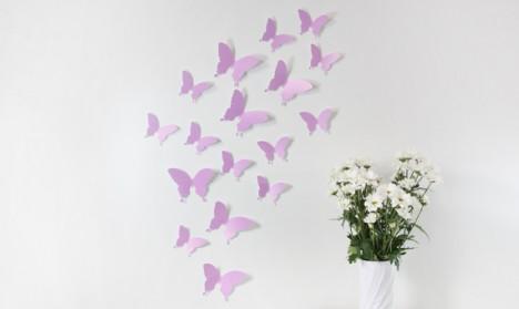 Wandtattoo 3D - Schmetterlinge flieder