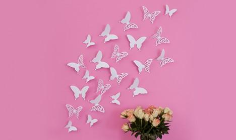 Wandtattoo 3D - Schmetterlinge weiß Set mit Muster
