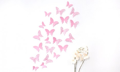 Wandtattoo 3D - Schmetterlinge rosa Set mit Muster