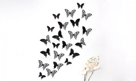 Wandtattoo 3D - Schmetterlinge schwarz Set mit Muster