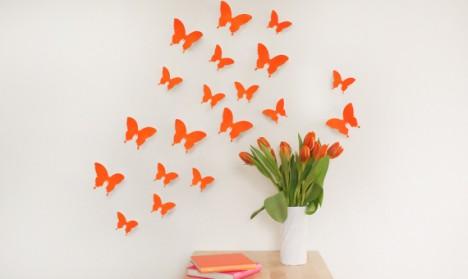 Wandtattoo 3D - Schmetterlinge neon orange