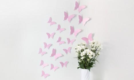 Wandtattoo 3D - Schmetterlinge rosa
