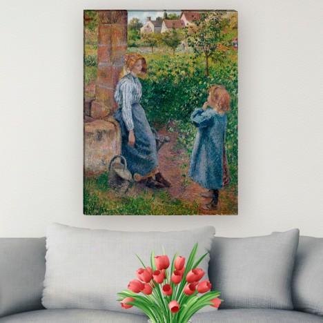 Leinwandbild junge Frau und Mädchen am Brunnen