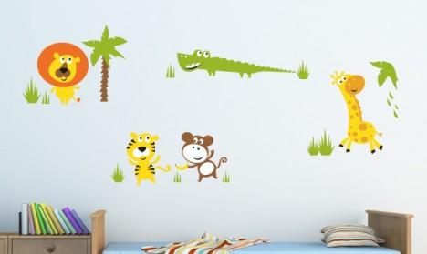 Die Dschungeltiere sind los! Holt Euch neue Bewohner für Euer Kinderzimmer. Ihr könnt den Tiger, die Giraffe, den Löwen, das Krokodil und den Affen ganz einfach und schnell, auch mit Hilfe Eurer Kinder, verkleben. Denn falls Ihr Euch mal verklebt, kein Pr