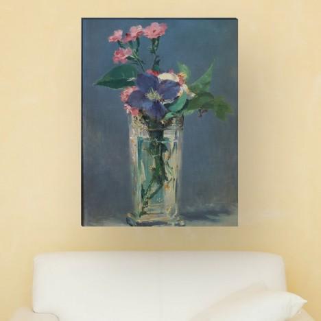 Édouard Manet - Glasvase mit Nelken und Klematis