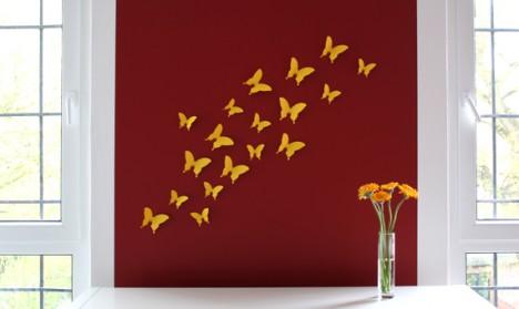 Wandtattoo 3D - Schmetterlinge gelb