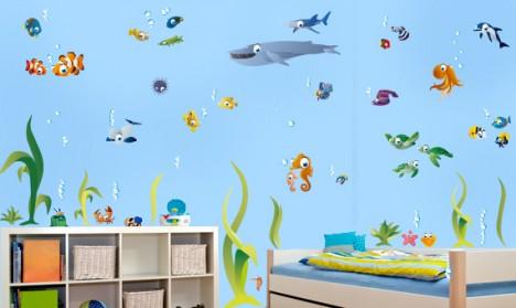 Wandtattoo Set - große bunte Unterwasserwelt