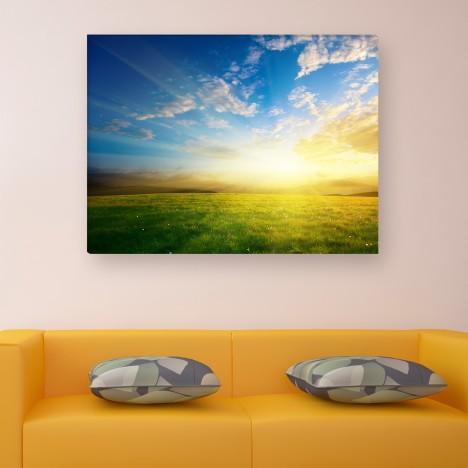 Leinwandbild - Blauer Himmel - Gras