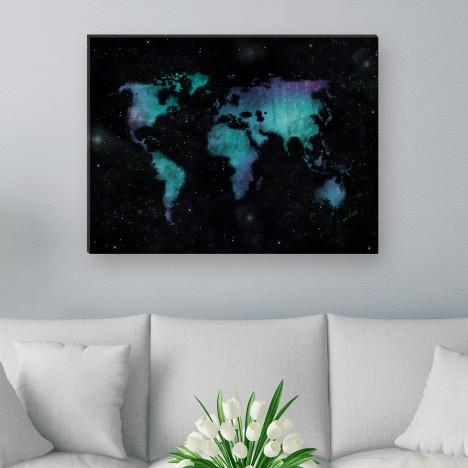 Leinwandbild - Blau - Schwarz - Sterne - Universum - Nacht -