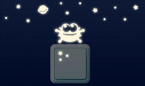Leuchtaufkleber für Lichtschalter - Alien Set