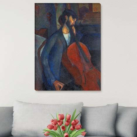 mann mit violoncello leinwandbild