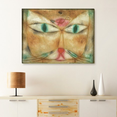 Leinwandbild - Katze und Vogel