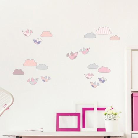 Wandsticker Set A4 - Wolken und Vögel
