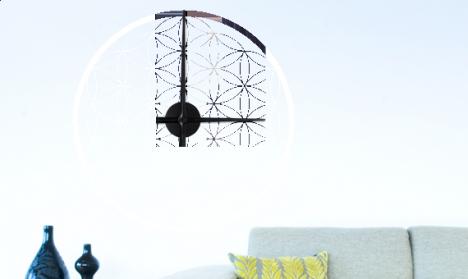 Wandtattoo Uhr - Blume des Lebens - Design 2