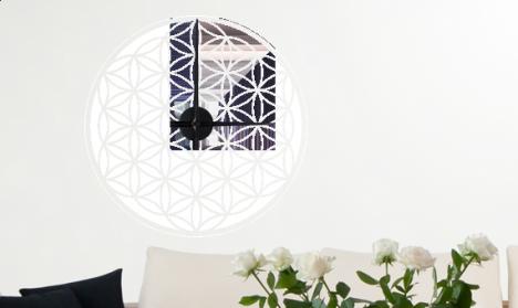 Wandtattoo Uhr - Blume des Lebens