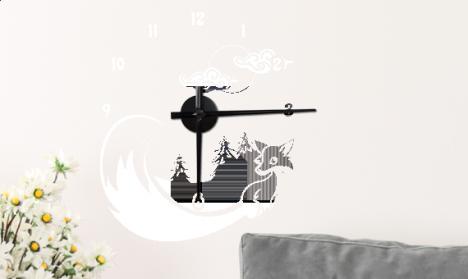 Wandtattoo Uhr - Fuchs im Wald