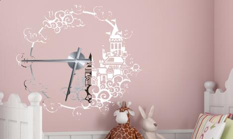 Wandtattoo Uhr - Märchenschloss