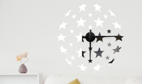 Wandtattoo Uhr - Sternenkugel