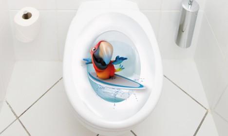 WC Aufkleber Papagei Surfer