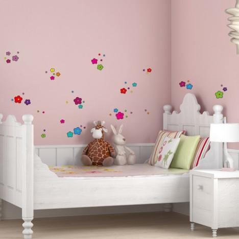 Wandsticker Set A4 - bunte Blumen Design 5