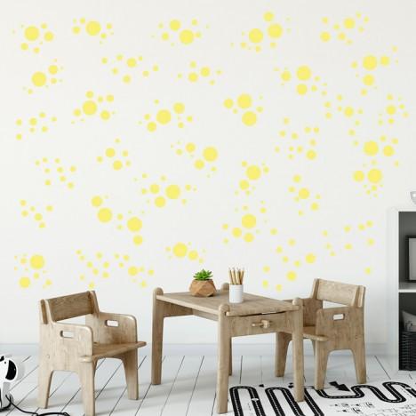 Wandsticker Set Mega - Pastell Punkte Gelb