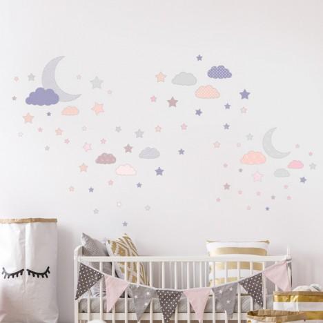 Wandsticker Set XL - Mond und Sterne