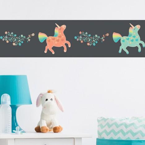Bördüre Kinderzimmer Einhörner