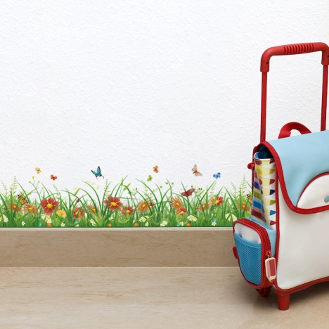Bordüre Gras mit bunten Blumen Transparent - 2 m