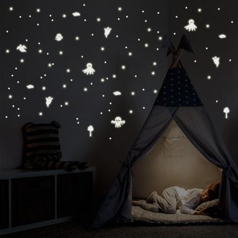 Leuchtaufkleber Geister und Sterne