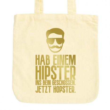 JUNIWORDS Pastell Jutebeutel Hab einem Hipster ins Bein geschossen. Jetzt Hopster.