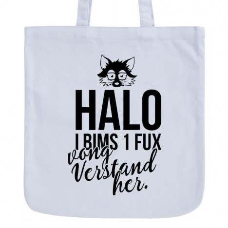 JUNIWORDS Pastell Jutebeutel Halo, I bims 1 Fux vong Verstand her.