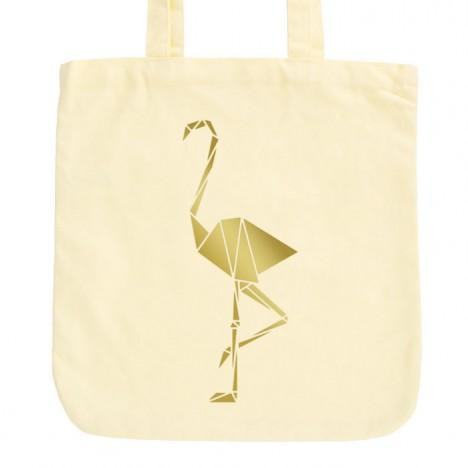 JUNIWORDS Pastell Jutebeutel Origami Flamingo