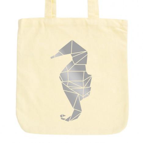 JUNIWORDS Pastell Jutebeutel Origami Seepferdchen