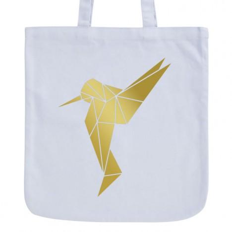 JUNIWORDS Pastell Jutebeutel Origami Kolibri 2