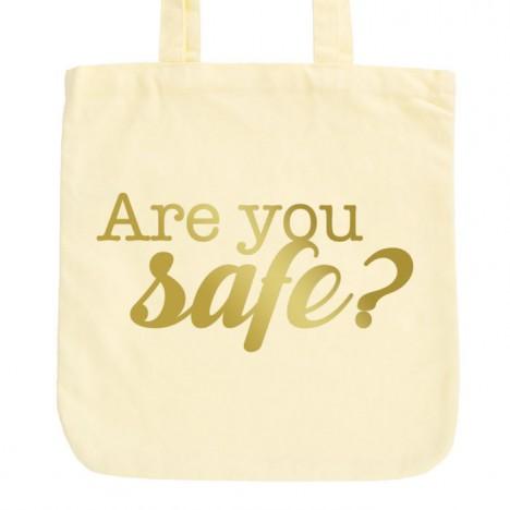 JUNIWORDS Pastell Jutebeutel Are you safe?