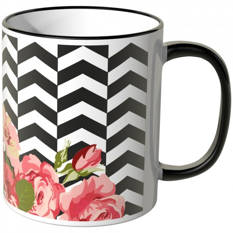 JUNIWORDS Tasse Chevron-Muster in schwarz-weiß